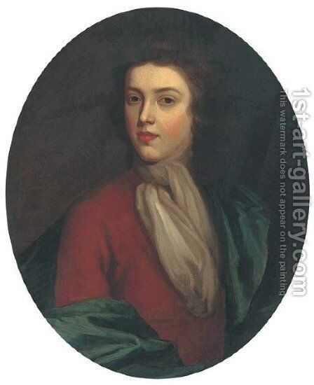 Portrait of a gentleman, bust-length, in a brown coat and blue wrap by (after) Kneller, Sir Godfrey - Reproduction Oil Painting