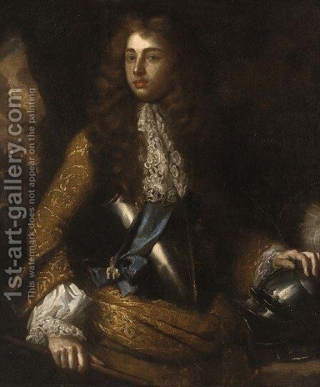 Portrait of a gentleman, three-quarter length, in a brown brocade coat and breastplate, a blue sash with the order of the white elephant by (after) Kneller, Sir Godfrey - Reproduction Oil Painting