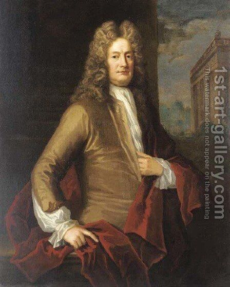 Portrait of a gentleman, traditionally identified as the Earl of March, three-quarter-length, in a brown coat and red wrap, a pavilion beyond by (after) Kneller, Sir Godfrey - Reproduction Oil Painting