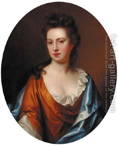 Portrait of a lady, half-length, in a gold dress with a blue wrap, feigned oval by (after) Kneller, Sir Godfrey - Reproduction Oil Painting
