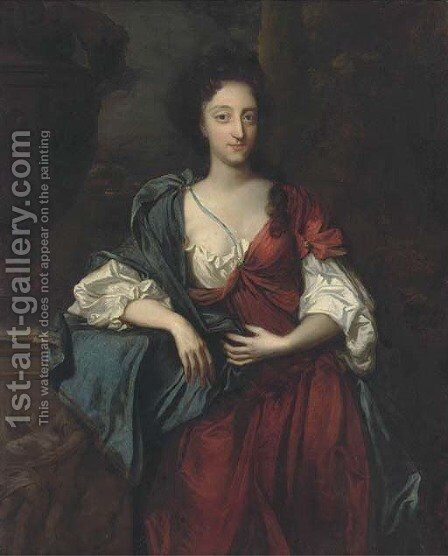 Portrait of a lady, standing three-quarter length, wearing a red and white dress with a blue wrap, her right arm on a ledge with an urn by (after) Kneller, Sir Godfrey - Reproduction Oil Painting