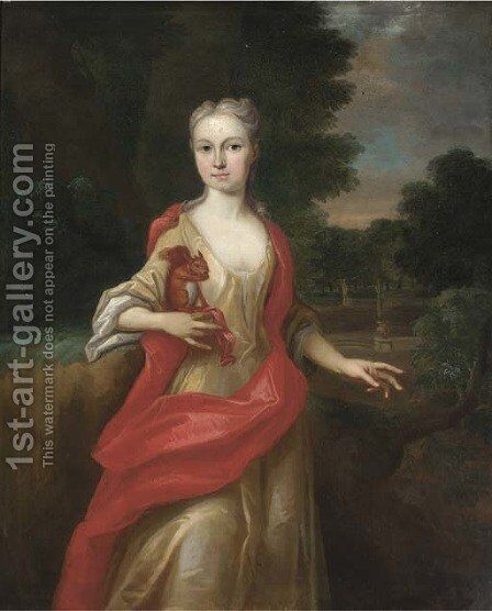 Portrait of a lady, three-quarter-length, in a yellow dress and scarlet wrap, holding a squirrel in her right hand, in an extensive landscape by (after) Kneller, Sir Godfrey - Reproduction Oil Painting