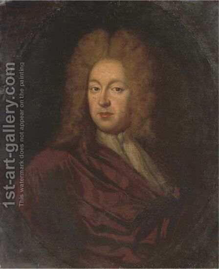 Portrait of Charles Taylor Esq. (1660-1736), bust-length, in a brown wrap and white stock, in a painted oval by (after) Kneller, Sir Godfrey - Reproduction Oil Painting