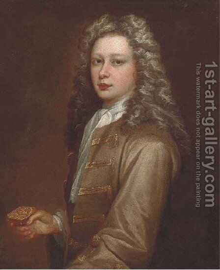 Portrait of Edmund Kershaw (b.1701), half-length, wearing an olive jacket, white cravat, and holding a silver box by (after) Kneller, Sir Godfrey - Reproduction Oil Painting