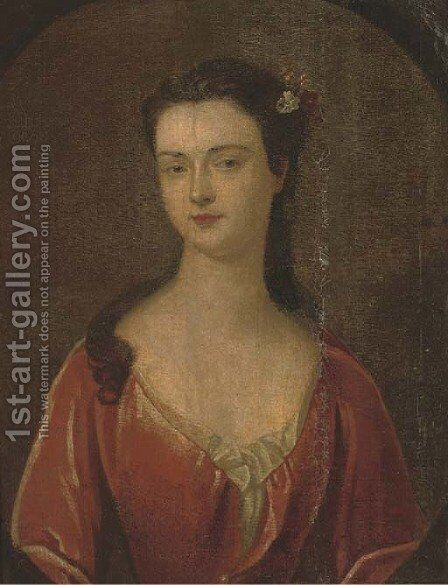 Portrait of Henrietta Erskine, bust-length, in a red dress with flowers in her hair, in a feigned oval by (after) Kneller, Sir Godfrey - Reproduction Oil Painting