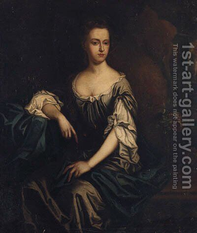 Portrait Of Isabella, Lady Lowther, Seated Three-Quarter-Length, In A Grey Dress And Blue Shawl, A Landscape Beyond by (after) Kneller, Sir Godfrey - Reproduction Oil Painting