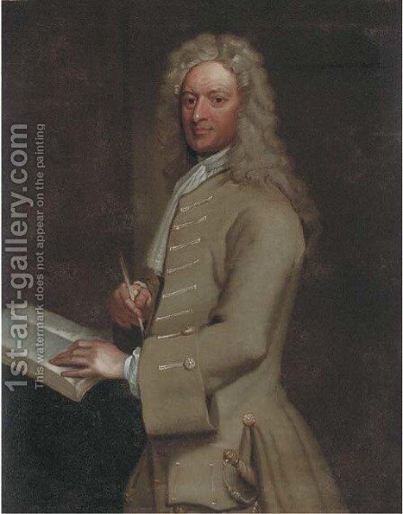 Portrait of John Morley (1656-1732), three-quarter-length, in a light brown jacket, holding a quill pen in his right hand by (after) Kneller, Sir Godfrey - Reproduction Oil Painting
