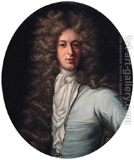 Portrait of John Taylor of Royston, half-length, in a blue coat and white stock by (after) Kneller, Sir Godfrey - Reproduction Oil Painting