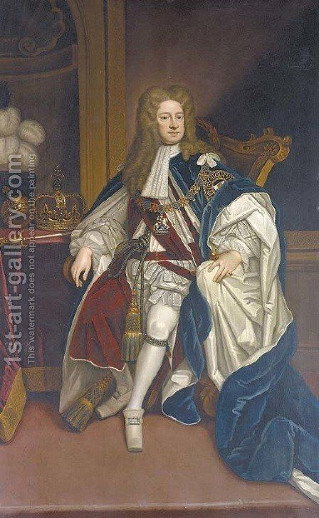 Portrait of King George I (1660-1727), seated full-length, in Garter robes by (after) Kneller, Sir Godfrey - Reproduction Oil Painting