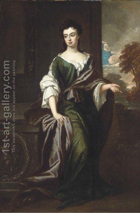 Portrait of Margaret, Countess of Ranelagh (1673-1727), full-length, in a green and white dress, burgundy wrap, a river landscape beyond by (after) Kneller, Sir Godfrey - Reproduction Oil Painting