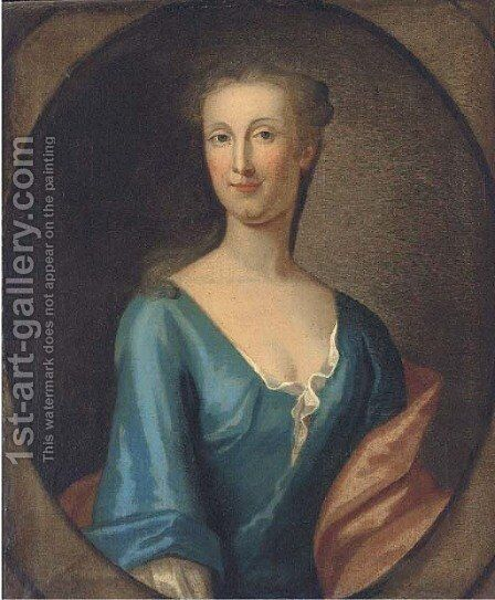 Portrait of Martha Rawson of Bolling, bust-length, in a blue dress and red wrap, in a feigned oval by (after) Kneller, Sir Godfrey - Reproduction Oil Painting