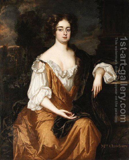 Portrait of Mrs. Overbury, seated three-quarter length, wearing a gold dress with a brown cloak, a landscape with a parkland beyond by (after) Kneller, Sir Godfrey - Reproduction Oil Painting