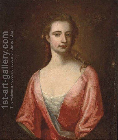 Portrait of a lady, half-length, in a pink dress with blue trim by (after) Sir Godrey Kneller - Reproduction Oil Painting