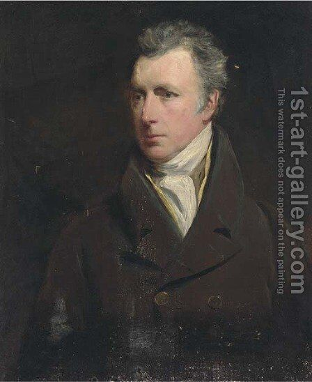 Portrait of a gentleman, bust-length, in a brown coat and yellow waistcoat by (after) Sir Henry Raeburn - Reproduction Oil Painting
