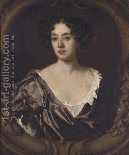 Portrait of a lady, bust-length, in a purple dress by (after) Sir Peter Lely - Reproduction Oil Painting