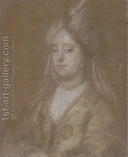 Portrait of a lady, half-length, in a turban headdress by (after) Sir Peter Lely - Reproduction Oil Painting