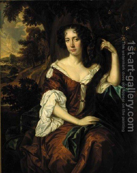 Portrait of a lady, three-quarter-length, in a brown dress by (after) Sir Peter Lely - Reproduction Oil Painting