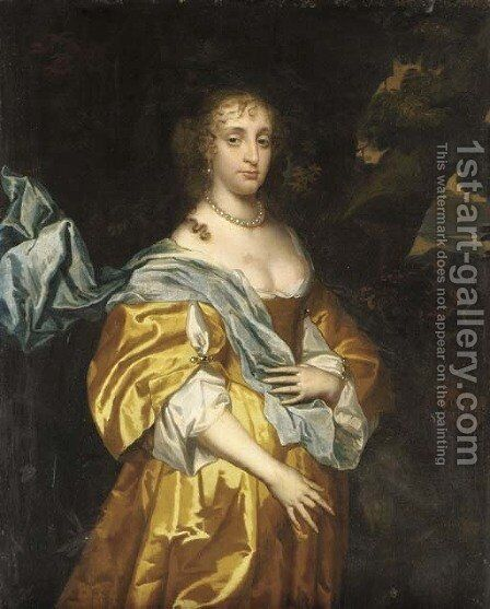 Portrait of a lady, traditionally identified as Mary, Lady Tichborne by (after) Sir Peter Lely - Reproduction Oil Painting