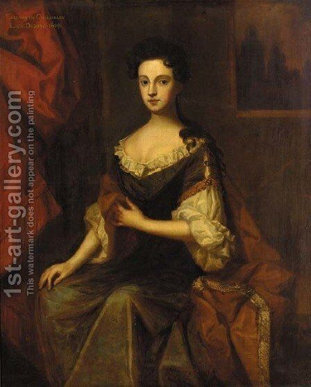 Portrait of Elizabeth Chomeley, Lady Dering by (after) Sir Peter Lely - Reproduction Oil Painting