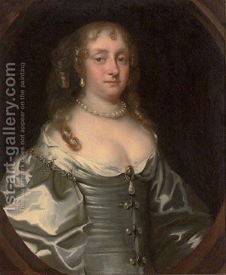 Portrait of Margaret, Lady Style (d.1718) by (after) Sir Peter Lely - Reproduction Oil Painting