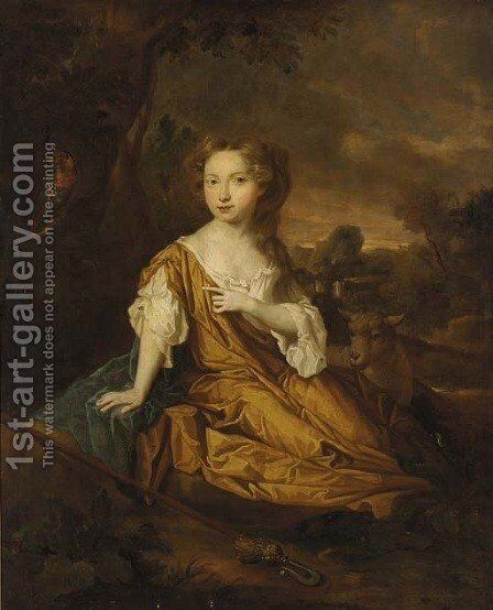 Portrait of Miss Pearl of Aconbury by (after) Sir Peter Lely - Reproduction Oil Painting