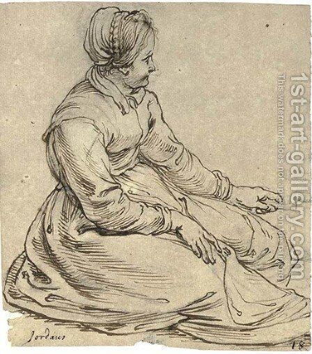 A seated girl wearing a cap, in profile to the right, turning a spit by (after) Sir Peter Paul Rubens - Reproduction Oil Painting