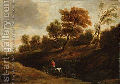 A wooded landscape with a peasant on a cart-horse by (after) Sir Peter Paul Rubens - Reproduction Oil Painting