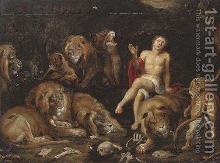 Daniel in the Lions' Den by (after) Sir Peter Paul Rubens - Reproduction Oil Painting