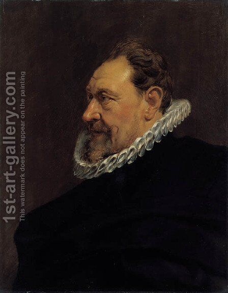 Portrait of a gentleman, bust-length, in a black costume with a white ruff by (after) Sir Peter Paul Rubens - Reproduction Oil Painting