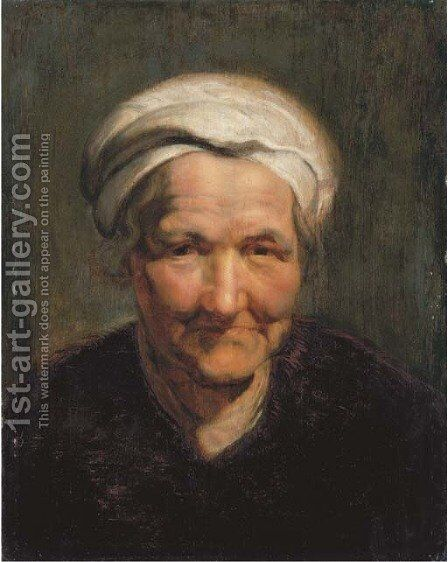 Portrait of an old woman, bust-length, with a white headscarf by (after) Sir Peter Paul Rubens - Reproduction Oil Painting