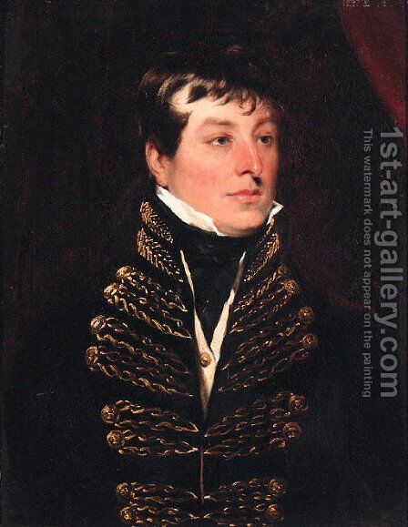 Portrait of an Officer, quarter-length, in uniform by (after) Lawrence, Sir Thomas - Reproduction Oil Painting
