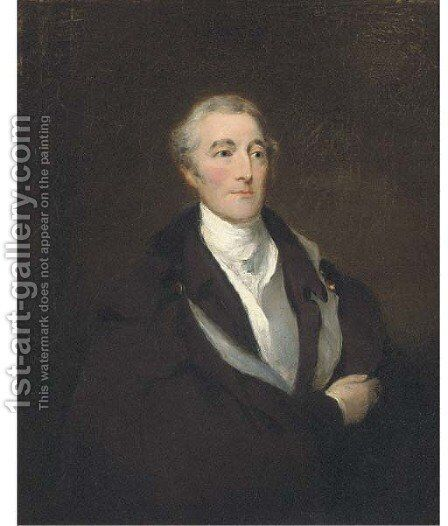 Portrait of Arthur Wellesley, Duke of Wellington, half-length, in a black coat and cloak, with a white shirt by (after) Lawrence, Sir Thomas - Reproduction Oil Painting