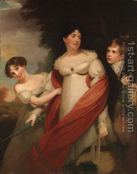 Portrait of a lady and her children by (after) Sir William Beechey - Reproduction Oil Painting