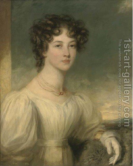 Portrait of a lady, half-length, in a white dress by (after) Sir William Beechey - Reproduction Oil Painting