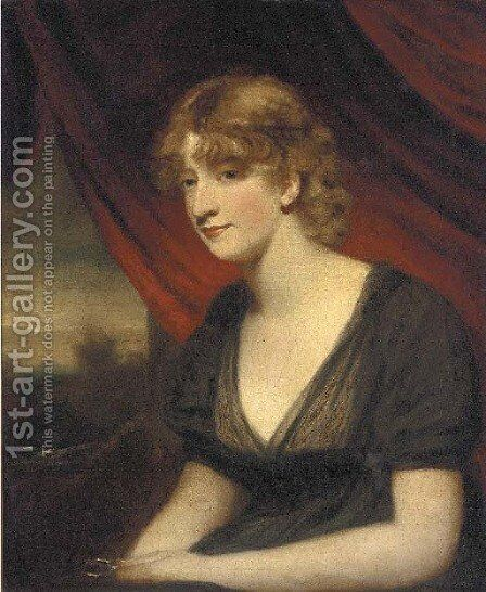 Portrait of a lady, seated half-length, in a black dress by (after) Sir William Beechey - Reproduction Oil Painting