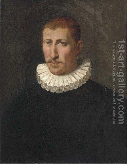 Portrait of a gentleman, bust-length, in a black doublet and a white ruff by (after) Sofonisba Anguisciola - Reproduction Oil Painting
