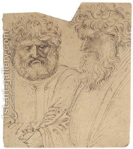 Two heavily bearded men, half-length by (after) Verona Stefano Di Giovanni Da - Reproduction Oil Painting