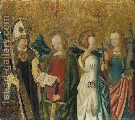 Saints Catherine of Alexandria, Margaret of Antioch and Barbara, and a bishop saint by (after) Master Of The St. Bartholomew Altarpiece - Reproduction Oil Painting