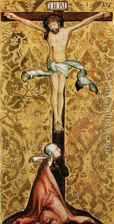 The Crucifixion with a female Saint at the foot of the Cross by (after) Master Of The St. Bartholomew Altarpiece - Reproduction Oil Painting