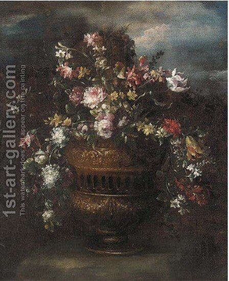 Roses, tulips, narcissi and other flowers in a sculpted vase in a clearing by (after) The Pseudo-Guardi - Reproduction Oil Painting