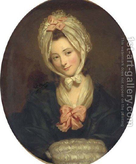 Portrait of a lady, half-length, in a black dress by (after) Matthew William Peters - Reproduction Oil Painting