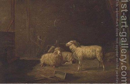 Sheep in a stable by (after) Theo Van Sluys - Reproduction Oil Painting