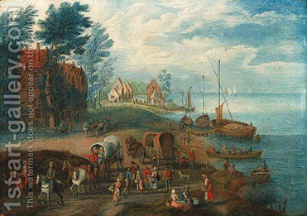 A river landscape with travellers on a path and peasants boating by (after) Theobald Michau - Reproduction Oil Painting