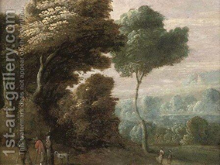 A wooded landscape with figures conversing on a track by (after) Theobald Michau - Reproduction Oil Painting