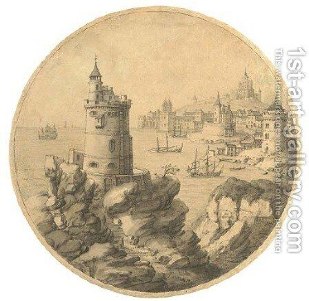 An imaginary coastal landscape with a tower, a port beyond by (after) Theodor Vercruys - Reproduction Oil Painting