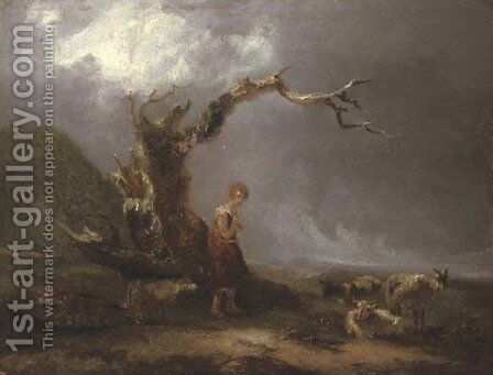 A landscape with a shepherdess and her flock by (after) Thomas Barker Of Bath - Reproduction Oil Painting