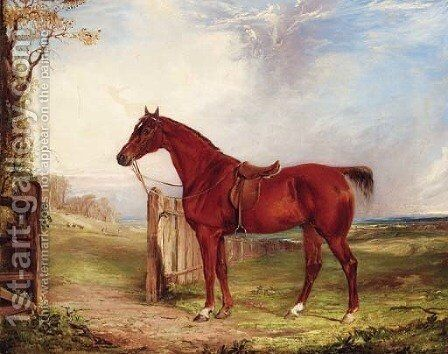 A saddled chestnut Hunter in an extensive Landscape with a Hunt beyond by (after) Thomas W. Bretland - Reproduction Oil Painting