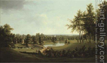 View of a parkland on the Thames, possibly Dorchester House (later Ham Court), near Weybridge by (after) Thomas Christopher Hofland - Reproduction Oil Painting