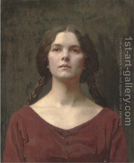 A young beauty by (after) Thomas Cooper Gotch - Reproduction Oil Painting
