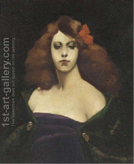 The red bow by (after) Thomas Cooper Gotch - Reproduction Oil Painting